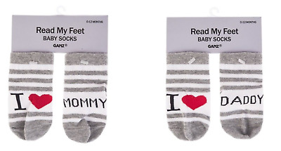 Ganz Baby Boy Girl 0-12 mo Socks - I (Heart) Mommy / Daddy Choose NIP 0-12 mos.