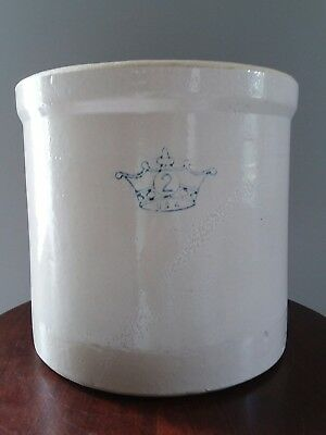 "Vintage 2 Gallon Robinson Ransbottom Blue Crown Stoneware Crock 11.5"" x 10.25"""