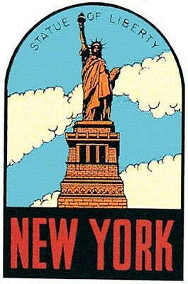 Statue Of Liberty   NY   New York City Vintage Looking Travel Sticker decal