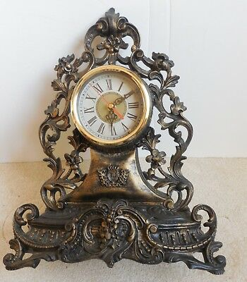 Antique Clock for decoration on Shelf or Desk very old and heavy Clock works
