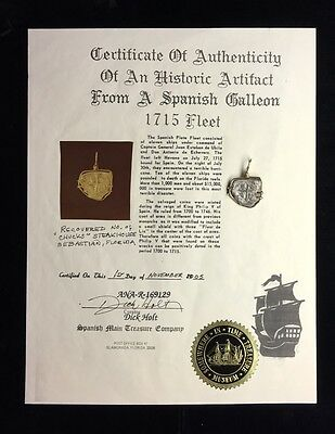 1715 Spanish Galleon Shipwreck Recovery Silver Coin & 14K Bezel Certification