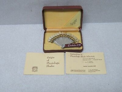 Vintage Dental Tooth Shade Guide Sample Swissedent Candulor CR Swiss in Case