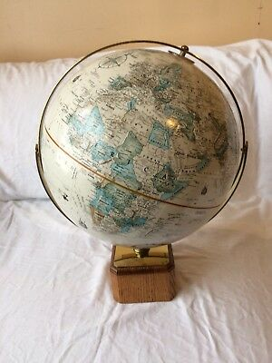 Vintage Replogle 12 Inch Diameter Globe World Classic Series Square Wood Base