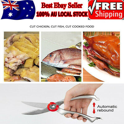 Hot Strong Kitchen Shears Stainless Steel Poultry Fish Chicken Bone Scissors AU