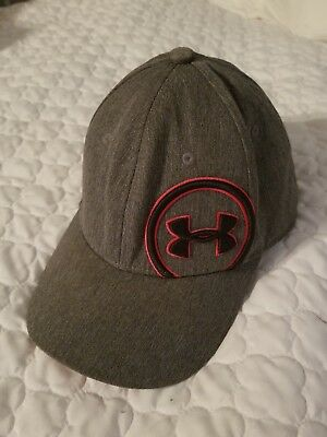 Under Armour Youth Boys Fitted Baseball Hat GREY Cap Size Youth Small Medium