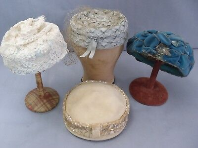 Lot of 4 Pillbox ladies Hats c1930-1940's