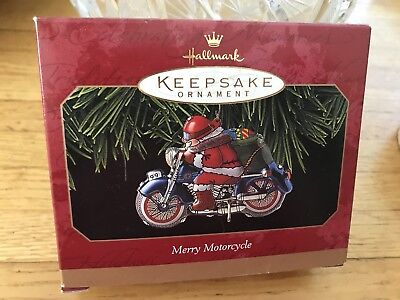 Hallmark Keepsake Merry Motorcycle Santa 1999 Pressed Tin Christmas Ornament