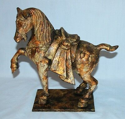 """10"""" Tall Chinese Metal Tang Dynasty Horse Sculpture Replica"""