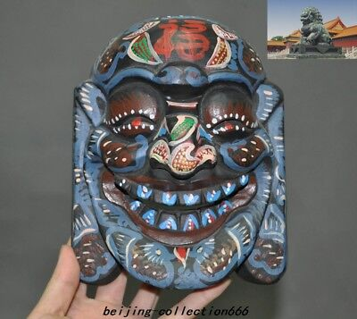 China Buddhism Old Wood Hand-painted Carved bird Worship people head mask statue