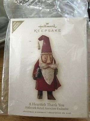 Hallmark 2008 retail Associates Only Heartfelt Thanks Ornament NIB