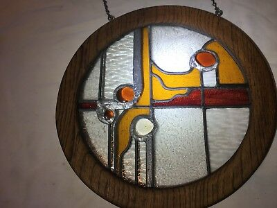 Vintage Leaded Stained Glass Panel  in a Circular Wooden Frame Hand made 14 1/2