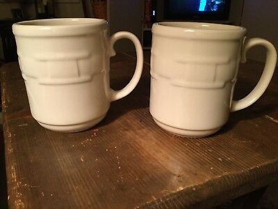 Longaberger 2 Pottery Woven Tradition Ivory Coffee Tea Cider Mugs Cups USA