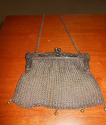 BEAUTIFUL Egyptian Motif Vintage or Antique GERMAN SILVER Mesh Purse