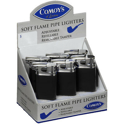 1 Comoys of London Black Soft Side Flame Tobacco Pipe Lighter Butane Refillable