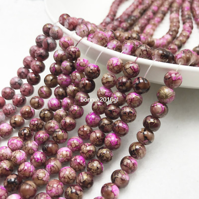 30Pcs 8mm Double Color Glass Pearl Round Spacer Loose Beads Jewelry Making 8#01