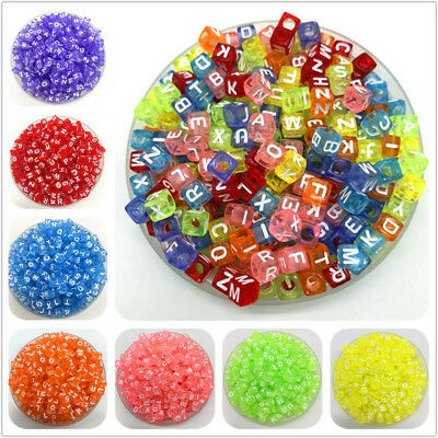 6mm 7mm 100pcs Colorful Letter Beads Charms Bracelet Necklace For Jewelry Making