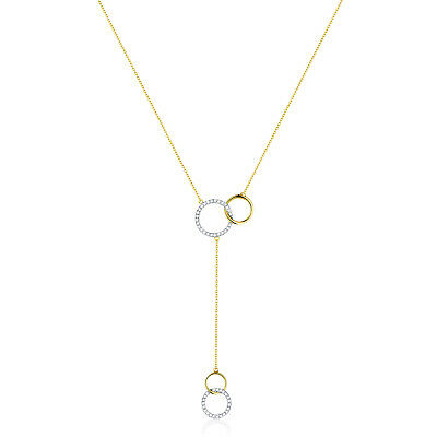 Prism Jewel 0.12Ct G-H/SI1 Natural White Diamond Popular Double Circle Necklace