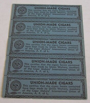 Lot Of 5  Advertising Union-Made Cigar Labels, Dated Sept. 1880