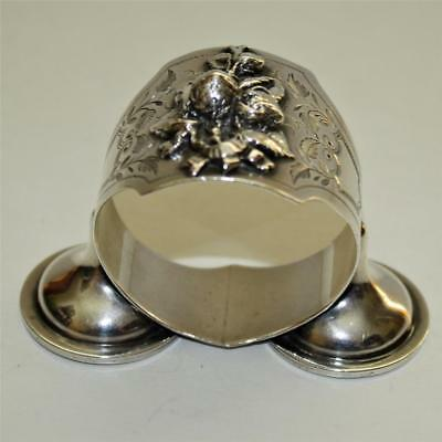Antique American Coin Silver Footed Napkin Ring with Figural Strawberries