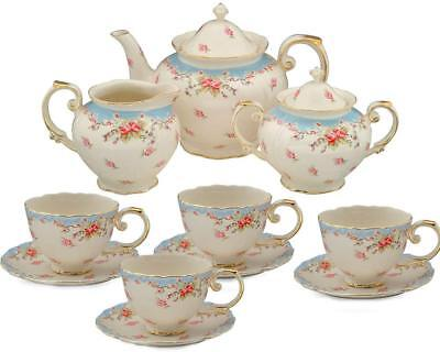 Tea Set Vintage China Cup Teapot Coffee Saucers Set Porcelain 11 Piece Design
