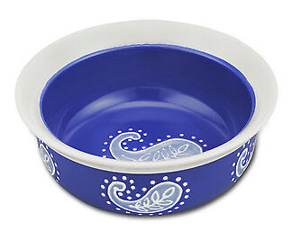 Castlemere Blue Paisley Round Cat Bowl