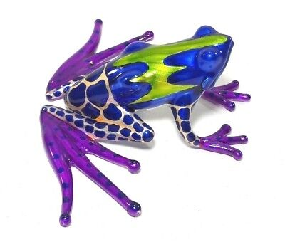 Frog Miniature Hand Blown Glass Dollhouse Collectible Animal Figurine Art Craft