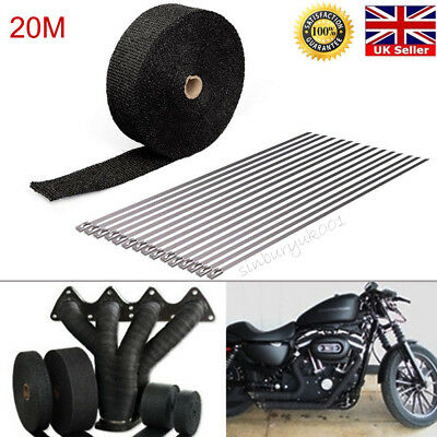20M Car Motorcycle Exhaust Manifold Downpipe Heat Wrap Pipe Tape & 15 Cable Ties