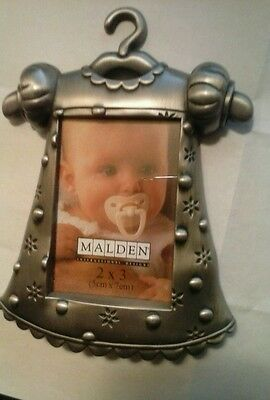 Pewter baby dress picture frame