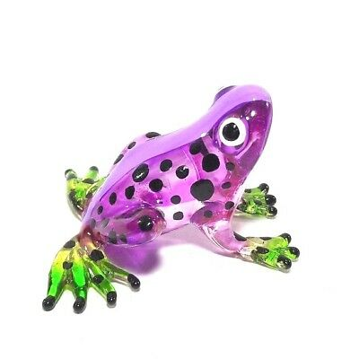 Hand Blown Glass Miniature Frog Dollhouse Decor Collectible Animal Figurine Art