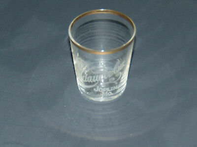 Landauer & Co Joplin, MO whiskey Old Dave Hopkins shot glass pre-prohibition