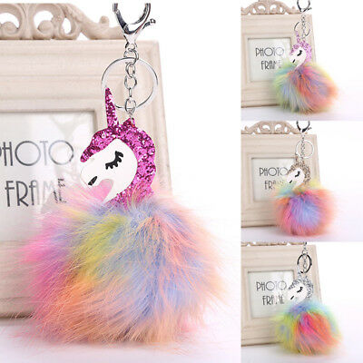 Unicorn Horse Keychain Keyring Handbag Key Ring Fluffy PomPom Bag Charm Pendant