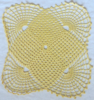 VINTAGE Hand Made YELLOW CROCHET LACE DOILY Centre Piece Square Table Mat 9""