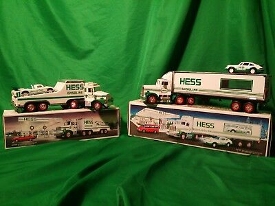 Vintage *RARE* 1988 & 1992 Hess Trucks with Racers in Original Boxes - Excellent