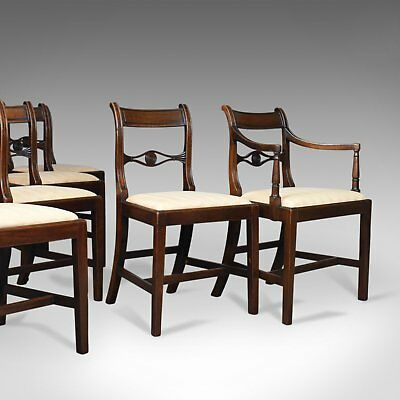 Set of Six, Antique, Dining Chairs, 5+1 English, Regency, Mahogany, Circa 1820