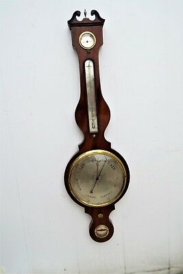 Antique Inlaid Mahogany Barometer & Thermometer : LARGE 10 INCH DIAL