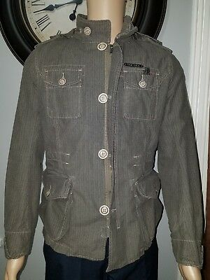 Men's Diesel Cotton Military Army Field Industry Jacket Coat Size M Hooded Green