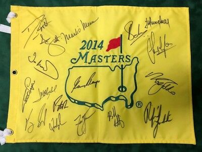 2014 Masters Golf Flag Signed Autograph 17 Winners AFTAL COA MICKELSON PLAYER