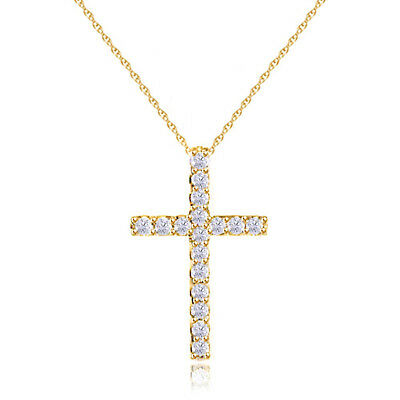 1/10 Ct Round Natural Diamond Small Cross Pendant Necklace Solid 14K Yellow Gold
