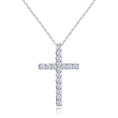 1/10 Ct Round Natural Diamond Small Cross Pendant Necklace Solid 14K White Gold
