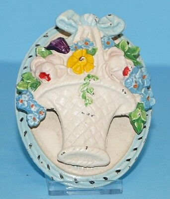 Antique Mixed Flowers Cast Iron Doorknocker W/ Original Box Blue Trim Hubley