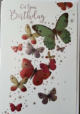 On Your Birthday - General Butterflies Female Birthday Card