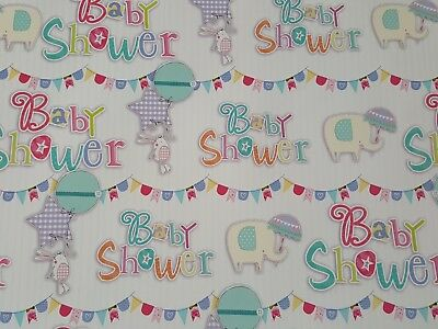 2 Sheets Of Glossy Baby Shower Wrapping Paper