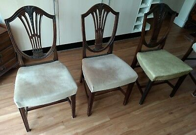 1 x Antique Upholstered Mahogany Dinning Chair (set of 8 + 'Carver' available)