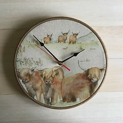 Farm Animal Scottish Highland Cattle Cow Fabric Covered 25cm (10ins)  Wall Clock