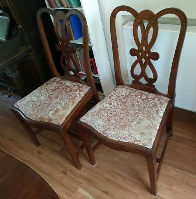 1 x Antique Upholstered Oak(?) Dinning Chair (set of 4 available)