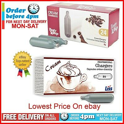 Whipped Cream Chargers Tasty Whip or Liss n2o 8g Dispensers (24s)