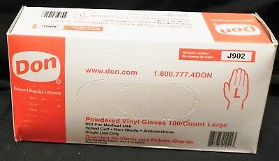 Edward Don & Company Powdered Vinyl Gloves Large Reorder: J902 100/box QTY 5