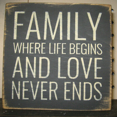 PRIMITIVE COUNTRY FAMILY~WHERE LIFE BEGINS AND LOVE NEVER ENDS mini  sq SIGN