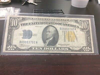 1934 A $10 Silver Certificate Note WW2 North Africa Yellow Seal