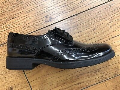 SALE Geox Agata Black Patent Lace Up Brogue Girls Full School Shoes 40 - UK 6.5